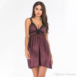 Women Sleepwear Fashion Designer Womens Underwear Sexy Solid Deep V Neck Nightgowns Summer Lace Panelled