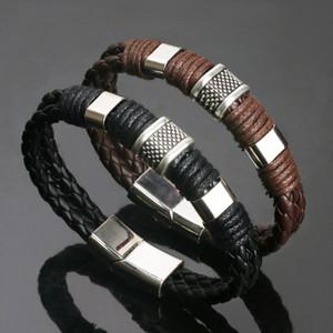 Antique New Armband Ledermens 2019 schwarze Korn-und Design-Silber überzogene Art und Weise Legierung für Brown Verkauf Hurbl