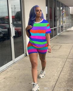Esportes Casual Rainbow Strip Two Piece Set Mulheres Treino Conjuntos de Roupas de Verão Designer de Moda 2 pcs Ternos