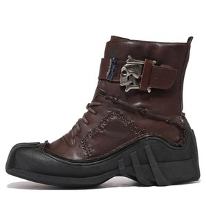 2020 Winter Army Boots For Men Big Size Skull Boots Genuine Leather Zapatillas Hombre 12#20 20D50