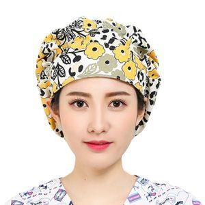 Donne Uomini stampa floreale regolabile Infermieri Scrub Cap Hat Bouffant cucina in cotone con Sweatband