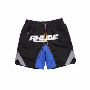 20ss Fashion Sommer USA Rhude Patchwork 3M Reflective Nylon String Shorts Frauen Männer High Street Middle Hosen Jogginghose