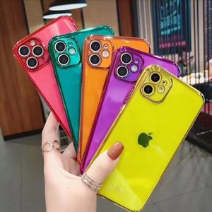 Neon Fluorescent Color Phone Cover Soft Silicone TPU Back Case Fitted Cover For iPhone 11 Pro X XR XS Max 7 7Plus