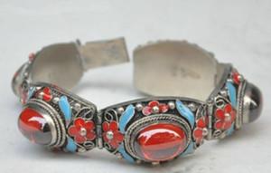 Nefis Çin Tibet hanedanlığı sarayı emaye işi gümüş kakma yeşim bilezik.