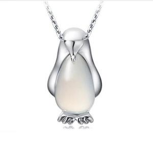 Pendentifs animaux pour Bijoux Faire Argent Mignon Colliers Plaqué Argent Opale Pingouin Pendentif Neckalce pour Noël cadeau Livraison gratuite