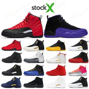 Stock X mens trainers basketball shoes 12 12s REVERSE FLU GAME Dark Concord University Gold Wolf Dark Grey Reverse Taxi Sports sneakers
