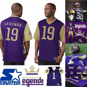 Hommes Atlanta Legends Jersey 9 Cameron Nizialek 44 Jeff Overbaugh 52 Khalil Bass 77 Brandon Pertile Alliance de Maillots de Football Américain