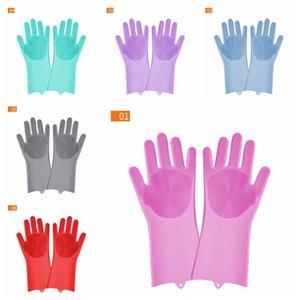 Магия Силиконовые посудомоечных перчатки Кухонные принадлежности Водонепроницаемые перчатки для мытья посуды Домашние Инструменты для чистки автомобиля Pet Brush DBC BH3704