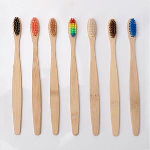 Personnalisé Nouveau mode charbon de bambou souple en nylon Brosse à dents Brosses à dents Capitellum bambou pour Hôtel Voyage Brosse à dents DHL WX9-1811