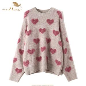 Padrão SISHION do amor do coração solto camisola de malha pulôver VD1253 Mulheres manga comprida Primavera puxar femme hiver mulheres Sweaters