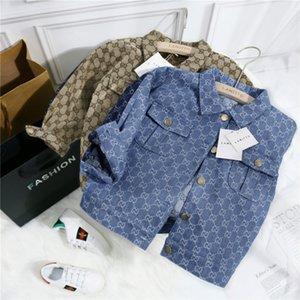 Crianças Designer Brasão Jacekts marca de moda letras Priend Meninas Meninos Moda Splice Denim Jacket Crianças Luxo Jackets Top Quality