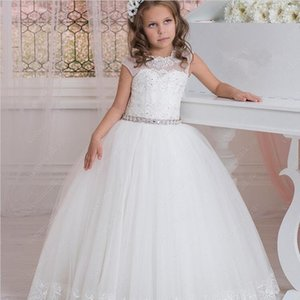 Cap Sleeves Beading Lace Tulle Flower Girl Dresses Vintage Child Pageant Dresses Beautiful Girl Wedding Dresses