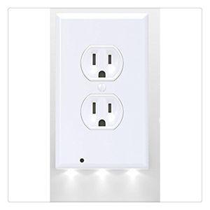 Schalterabdeckung LED-Nachtlichtsensor Sicherheitshinweise für die Wandmontage Steckdosenabdeckung Sicherheit ABS-Kunststoff Weiß 3 LED