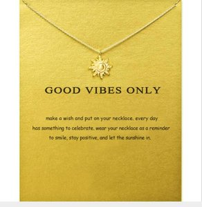 DHL Dainty Clavicle Necklace Dainty Gold Silver Sun Pendant necklace Friendship Jewelry gift Favors with card 42+5cm