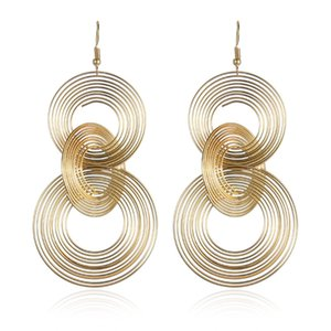 Twist Circle Gold Color Dangle Earrings For Women Fashion Round Drop Long Earrings Pendientes Jewelry 2020
