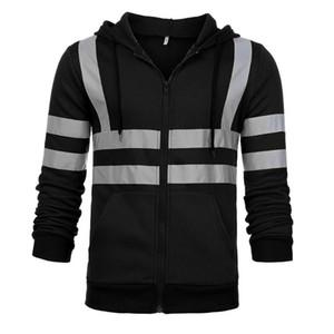 Mens Hoodies Inverno com capuz Streetwear manga comprida camisola Reflective Casual Trabalho de estrada de alta visibilidade Hoodies Plus Size