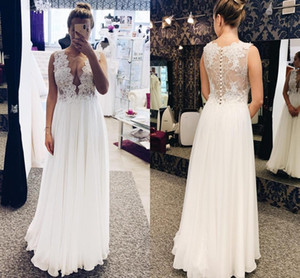 Sexy Sheer Neck Bohemian Wedding Dresses Floor Length A Line Illusion Bodice Lace Appliques Country Beach Bridal Gowns robes de