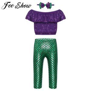 Toddler Baby Girls Mermaid Outfits Off-shoulder Ruffle Sequins T-shirt Crop Tops Fish Long Leggings Pants Headband Clothing Set