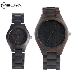 YISUYA alta Graded coppia regali Ebony della vigilanza degli uomini di legno semplice nera piena di legno donne del braccialetto Orologio Donna Articoli da regalo Reloj Para hombre
