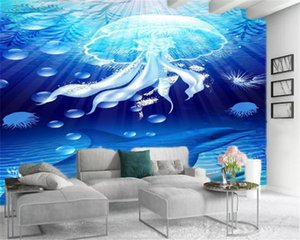 Living 3D Blue Wallpaper Underwater World Medusa e stampa HD decorativo Beautiful Wallpaper Dolphin Digital