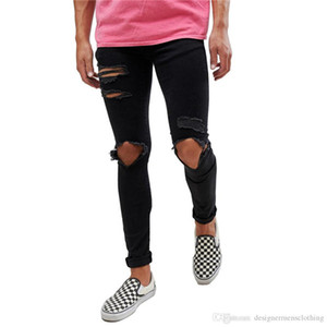 Mode Big Hole design Black Jeans Hommes Adolescent Vêtements Hombres Hiphop Skateboard Jeans cycliste