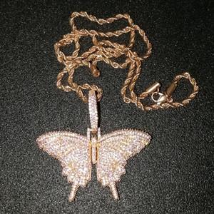 مجوهرات يثلج خارجا الحيوان الوردي فراشة قلادة قلادة مع سلسلة Rosegold الذهب الفضة مكعب الزركون الرجال النساء الهيب هوب روك