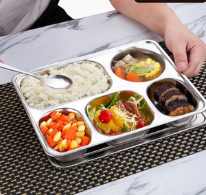 Dividido Snack Aço inoxidável Food Tray Dinner Plate Compartimentos School Restaurant Snack Placa Cozinha Food Container Lunch Box GGA3471-4