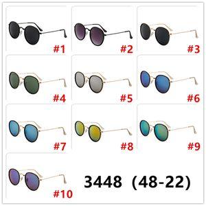 2020 جديد ريترو الكلاسيكية المعدنية الدائرة النظارات الشمسية 3448 مصمم رجالي نظارات شمسية للنساء العلامة التجارية الشهيرة نظارات 48MM عدسة UV400