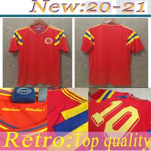 Retro soccer jersey colombia 1990 #10 Valderrama #9 Guerrero away red classic commemorate antique Collection vintage camisa de futebol