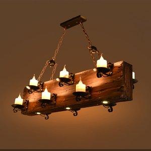 American Retro Wooden Pendant Light Coffee Restaurant Bar Antique Pendant Lamp Creative Living Room Light Solid Wood Decorative Hanging Lamp