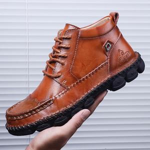 LOOZYKIT alta calidad del cuero genuino de los hombres botas de moda Encaje zapatos de cuero de vaca Hombre Hombre Oscuro otoño las botas del tobillo del tamaño extra grande