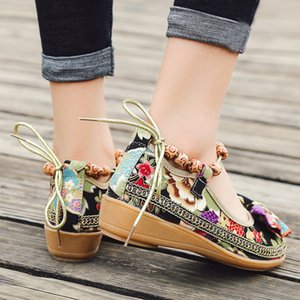 Noeud chinois Femmes brodé Ballet cheville plat Printemps Eté Vintage Ladies Comfort Slip sur ballerines Chaussures