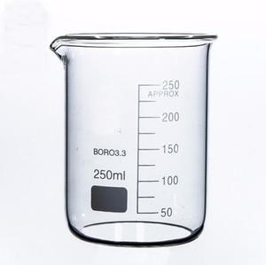 Laboratorio de Química Formulario Lab250ml baja del cubilete de cristal borosilicato transparente Vaso espesado con el canalón