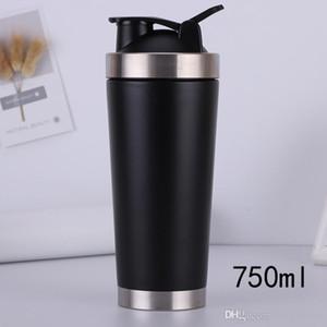 Nueva 700ml Acero inoxidable Metal Proteína Shaker Cup Blender Mixer Bottle Sports Botella de agua con tapa a prueba de fugas Envío gratis