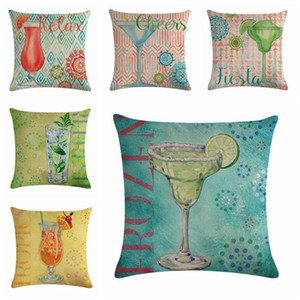 decorative summer beverage cushion cover shabby chic drink sofa chaise throw pillow case 45cm linen funda cojin modern cojines
