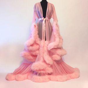 Gelin pelerin mor tüy gelin sırf elbise tül yanılsama uzun düğün banket tüy elbise kostüm pelerin