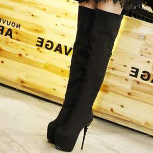 16cm Red Bottom High Heels Black Synthetic Suede Platform Over The Knee Thigh High Boots Size 34 To 40
