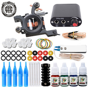 Single Tattoo Gun Kit Tattoo Machine Gun for Lining and Shading With Power Supply Needles Grips Ink Tips for Beginner Tattoo Learning