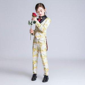 Trajes Yuanlu Nueva niños para niñas Tuxedo Blazer Tijereta prendas de vestir exteriores para piano Flower Party Print