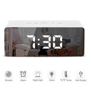 Led Зеркало Будильник Digital Snooze настольные часы будильник Свет Электронные Большой Время Температура Дисплей Домашнее украшение часы