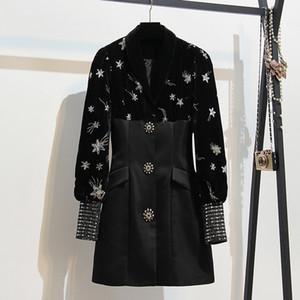 2020 Siyah Sonbahar Pist Kadınlar Elbiseler Lüks Kadife Elbise Bahar Ofis Lady Puff Uzun Kollu Pullu Nakış Mini Elbise