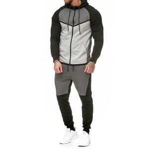 Automne 2018 Fitness sport Hommes Set Mode Survêtements Homme culturisme Sweats à capuche Sets Pantalon Casual Costumes Outwear Dropshipping