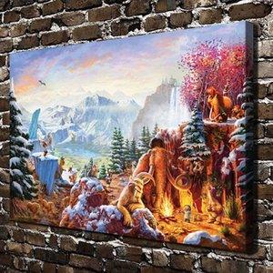 토마스 Kinkade, 코끼리 원숭이 동물, 1 조각 Canvas Prints 벽 미술 유화 홈 장식 (Unframed / Framed)