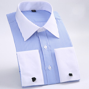 Clássico Listrado Homens Camisas de Vestido de Manga Longa Plus Size Formal Noivo Desgaste Negócio Masculino Trabalho Camisas de Escritório Prom / Jantar Do Noivo Camisas