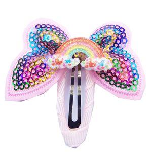 Unicórnios Grampos de Cabelo Lantejoula Glitter Meninas Do Bebê Grampos de Cabelo Meninas Bowknot Barrette Crianças Boutique de Cabelo Arcos Rainbow Cocar GGA2536