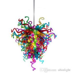 Multi Color Handmade Blown Cadeia Vidro Candelabro Luz Decoração LED Fonte de Luz vidro Murano Chandelier