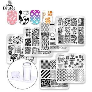 Art & Tools Templates Biutee 6 Pcs Square Nail Stamping Plates Set Lace Flower Animal Pattern Nail Art Stamp Template Image