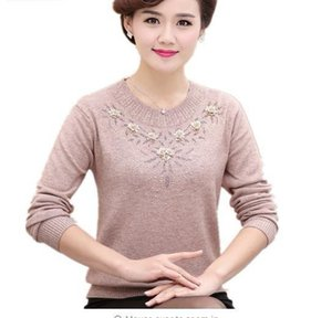 Middle-aged Women's Winter Sweaters Pullovers Plus Size 4xl Thickened Warm O-neck Wool Sweater Mother Dress Tops W105