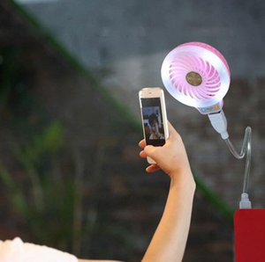 USB LED Fan Mini Portable Fill Light Power Fans 2 Colors Night Light Pocket Small Fan Party Favor OOA8014