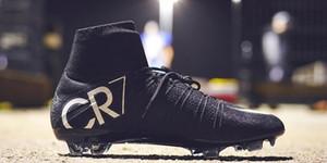 Sapatos de alta qualidade Original Preto CR7 Futebol botas Mercurial Superfly V FG Futebol C Ronaldo 7 Top Quality prata Mens Futebol chuteiras RR